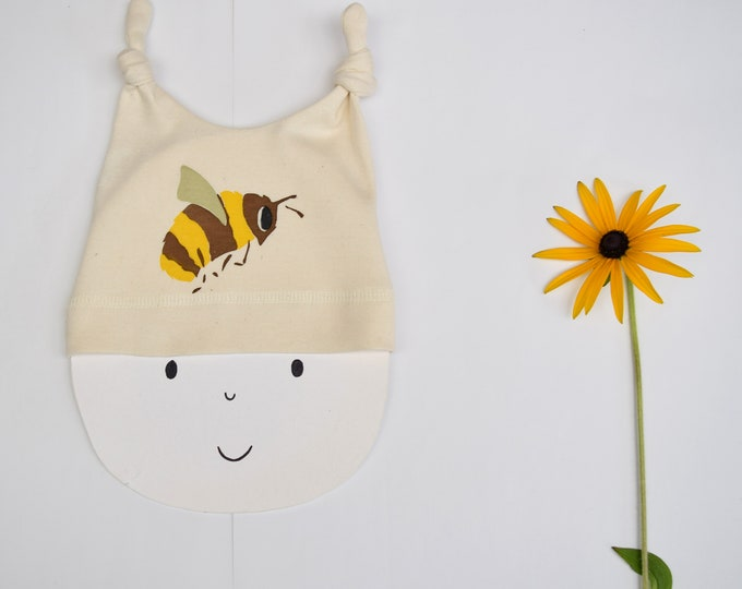 Baby hat with a bee print in organic cotton. New baby gift. Save the bees! Bumble Bee. Wildlife baby gift.