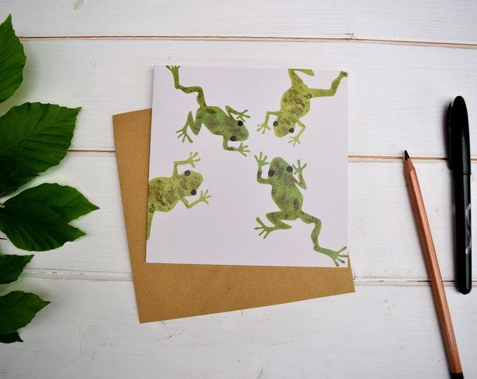Four frogs greetings card.