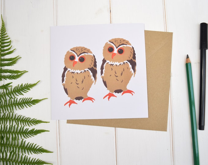 Owls Greetings Card. Card for any occasion. Garden birds. Bird lovers card. 2nd birthday. Owl design