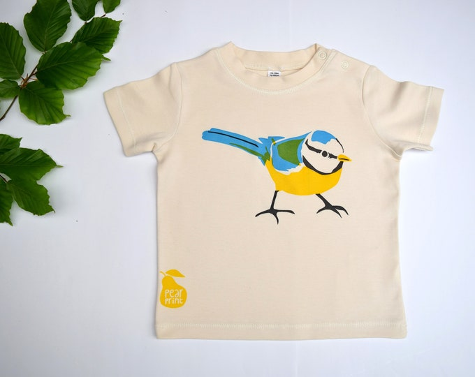 Blue tit Baby/Toddler t-shirt or bodysuit. Nature baby gift.