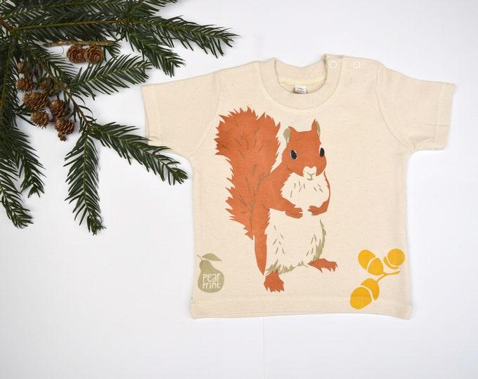 Woodland red squirrel design, organic cotton baby t-shirt.