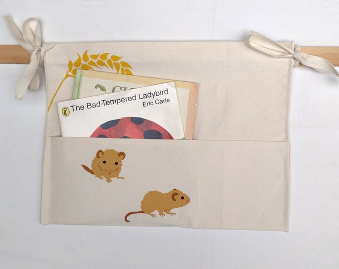 Bed tidy with dormice. Bunk bed caddy. Cot caddy. Kids book holder.