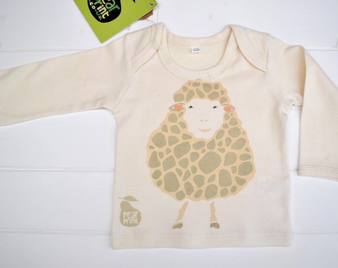 Sale - sheep baby long sleeve top in organic cotton
