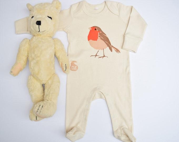 Organic cotton baby sleepsuit with a robin. Baby grow. Pyjamas. Baby boy or baby girl gift.