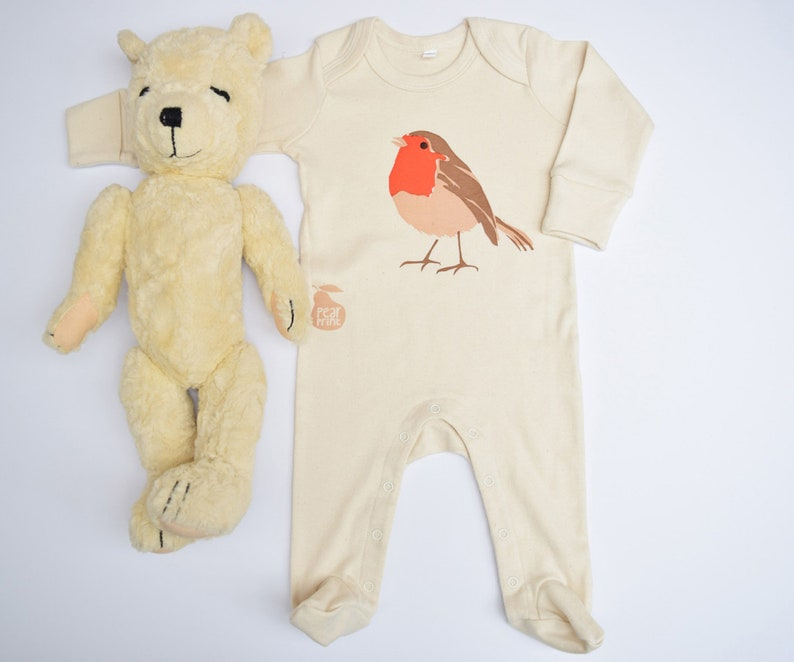 Organic cotton baby sleepsuit with a robin. Baby grow. image 0