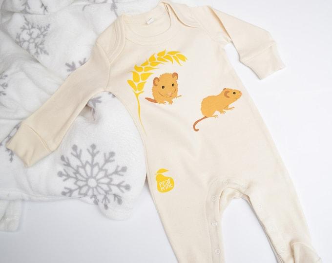 Organic cotton baby sleepsuit with two dormice. Baby grow. Pyjamas. Baby boy or baby girl gift.