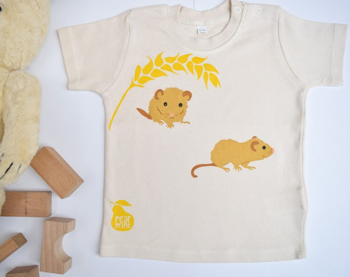 Dormouse baby t-shirt in organic cotton. Baby boy or baby girl gift. Domice and wheat.