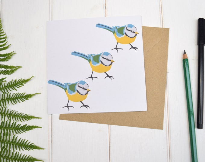 Bluetits greetings card. Three little birds card.