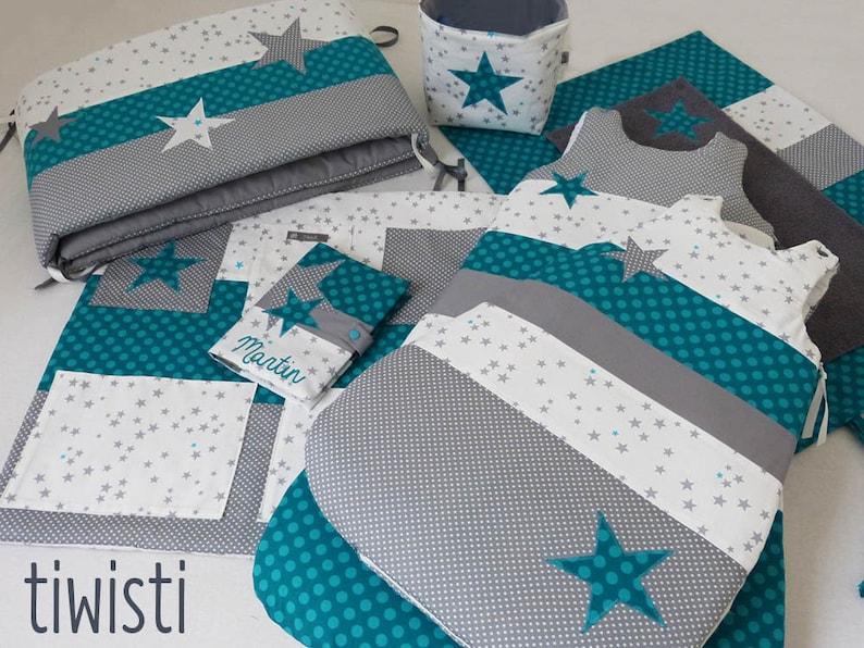 Chambre de bébé complète turquoise et gris : tour de lit 2 | Etsy