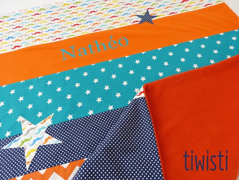 stars and mustache Colorful personalized with the name of child blanket out of fleece