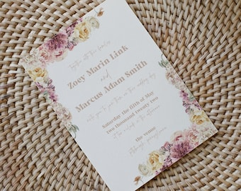 zoey collection || wedding stationery, invitation suite, minimal, calligraphy, simple, elegant, beautiful, flowers, floral, botanical