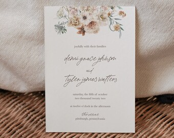 demi collection || wedding stationery, invitation suite, minimal, calligraphy, simple, elegant, beautiful, fall, autumn, october