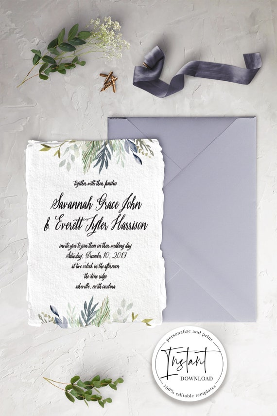 printable greenery wedding invitation suite print etsy