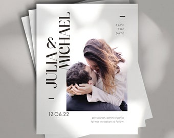 no. 3 save the date || wedding stationery, invitation suite, minimal, calligraphy, simple, elegant, beautiful
