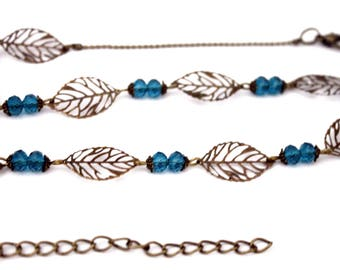 "Bohemian headband ""bronze leaves and pearls emeralds""-headband retro vintage glass brass bronze"