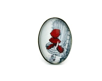 """""""The little Red Riding Hood"""" Oval cabochon ring adjustable retro brass cabochon"""