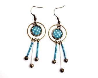 Bohemian dot with green and white miyuki beads earrings