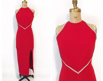 Red hot rhinestone trimmed stretch gown with low back Size S.