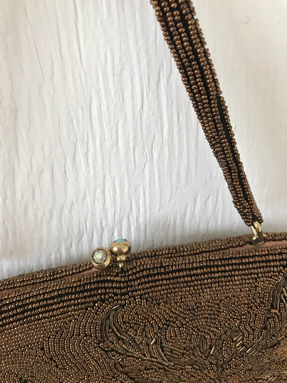 1960's chocolate brown large floral beaded hand b… - image 7