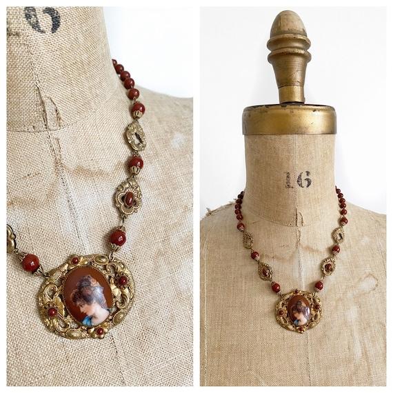 Antique Czech brass portrait necklace.