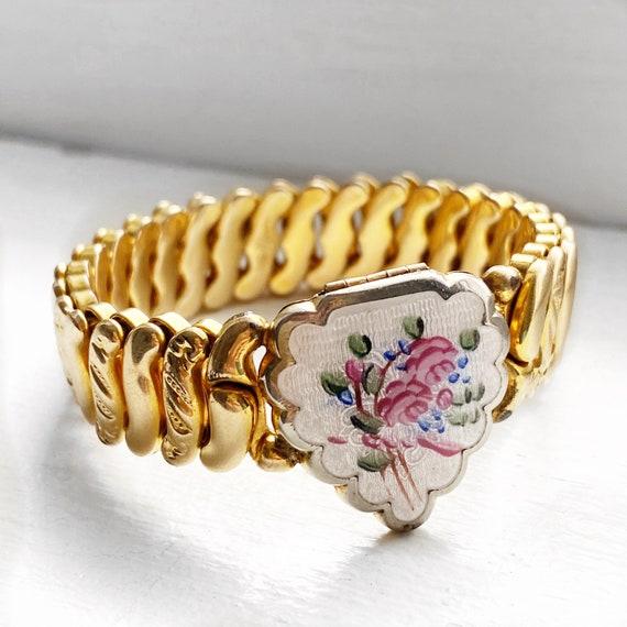 Antique guilloche heart locket expansion bracelet,