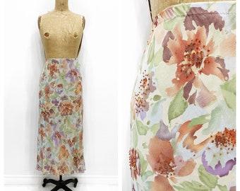 Y2K floral watercolour silk chiffon skirt. Size L.