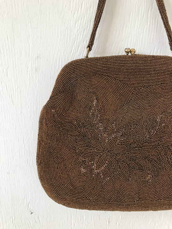 1960's chocolate brown large floral beaded hand b… - image 5