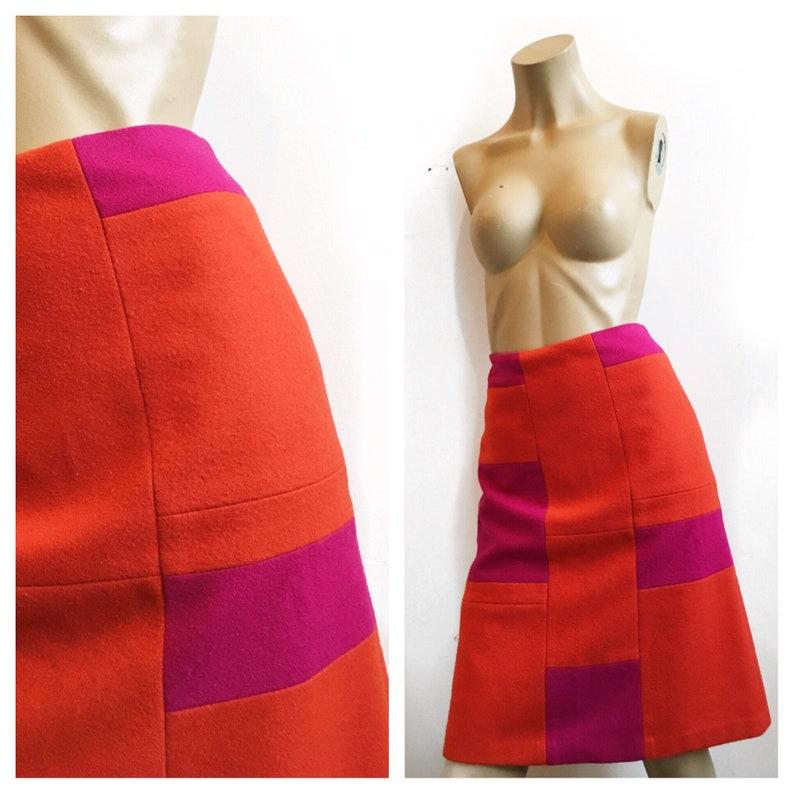 5d2e8691e77 Wool colour block Club Monaco A line skirt, pink and orange bold knee  length skirt. Size S