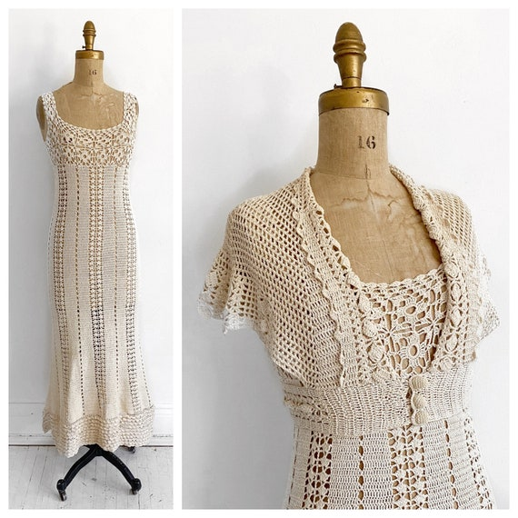 1930's cream crochet dress with matching bolero. S