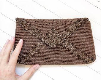 Bronze brown beaded 1960's envelope clutch, mid-century beaded evening bag.