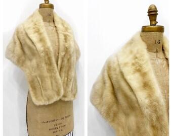 Midcentury blonde mink fur shawl wrap capelet. Size S-L.