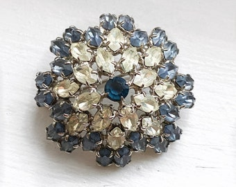 Midcentury blue and white crystal dome brooch.