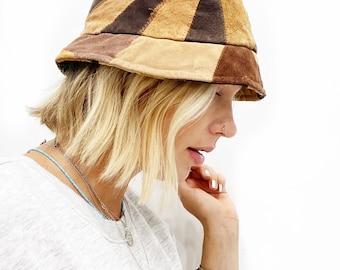 Vintage suede brown patchwork bucket hat.