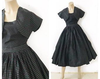 1950's party dress, 3 piece black party dress ensemble with green and pink lurex shimmer. Stripes and polka dots. Size XS.
