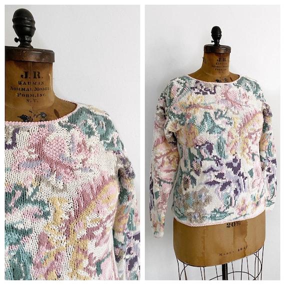 Vintage floral ramie cotton 1980s sweater. Size M/
