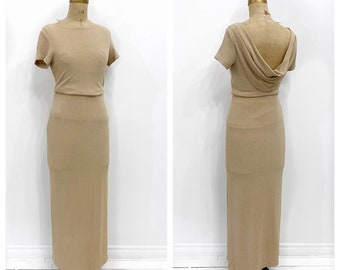 Y2K 1990's shimmer taupe 2 piece skirt set with draped back. Size M.