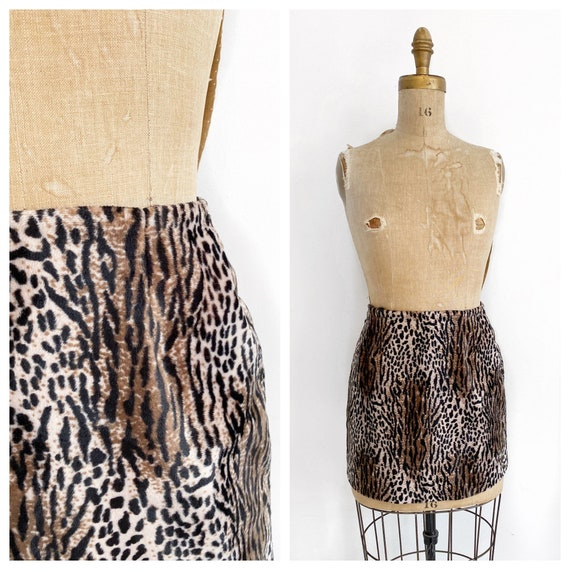 Leopard velvet faux fur mini skirt, 1990s club wea