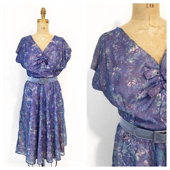 Mid century blue purple floral chiffon day dress w