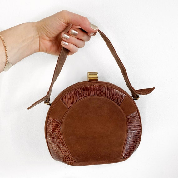 Rare Owens and Elmes 1940's brown suede handbag wi