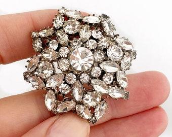 Midcentury Austrian crystal snowflake brooch.
