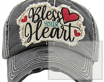 f71b5eb07667d Bless your heart cap distressed hat bad hair day hat beach hat and cap high  pony tail hat distressed and faded frayed edge cap ships fast