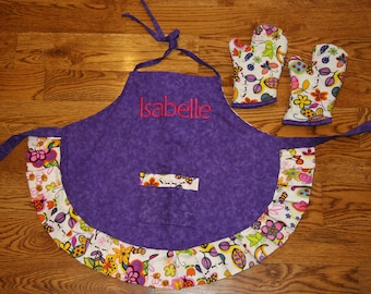 Custom Apron Child Apron Personalized Apron Made to order child apron Chef hat hot pads birthday gift custom apron personalized apron
