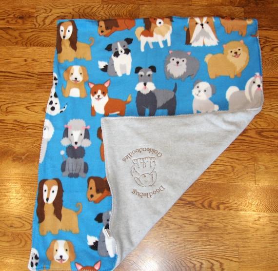 9152788fa0 REVERSIBLE Pet Blanket Dog Blanket Fleece Custom Embroidered