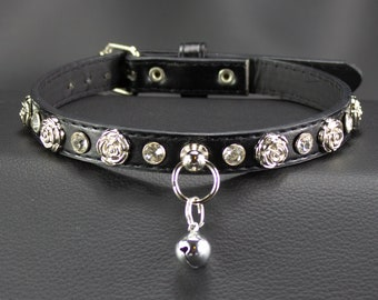Choose Size Vegan Black with Roses and crystals Collar, ideal for everyday wear! bdsm fetish day collar MATURE