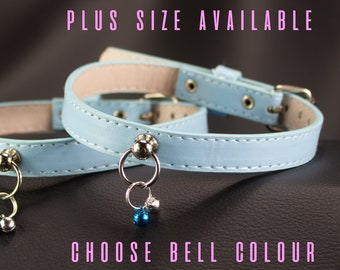 Choose Size Vegan Baby Blue Collar with mini bells, ABDL,  bdsm collar kittenplay littlespace submissive MATURE