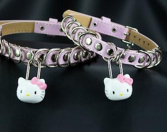 Choose size Vegan Faux Leather Baby Pink Kitty Padlock collar choker  - bdsm fetish submissive kinky babygirl ddlg MATURE