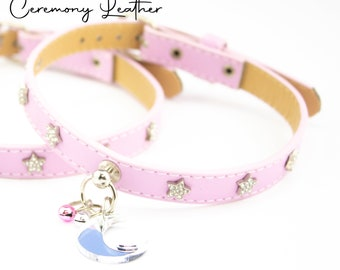 Little Star VEGAN baby pink collar with Diamante star rivets and moon charm - Kitten Play BDSM kink fetish submissive