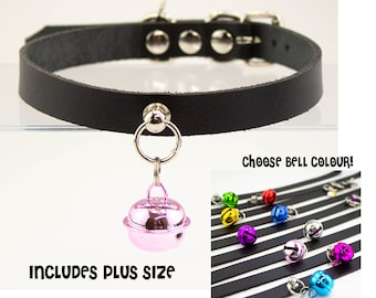 Genuine Leather Black Kittenplay collar -Choose Size and Bell Colour! Plus Size options - BDSM Petplay Neko Collar choker bell