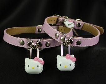 Choose size Vegan Faux Leather Kitty Baby Pink Padlock collar choker  - bdsm fetish submissive kinky babygirl ddlg MATURE