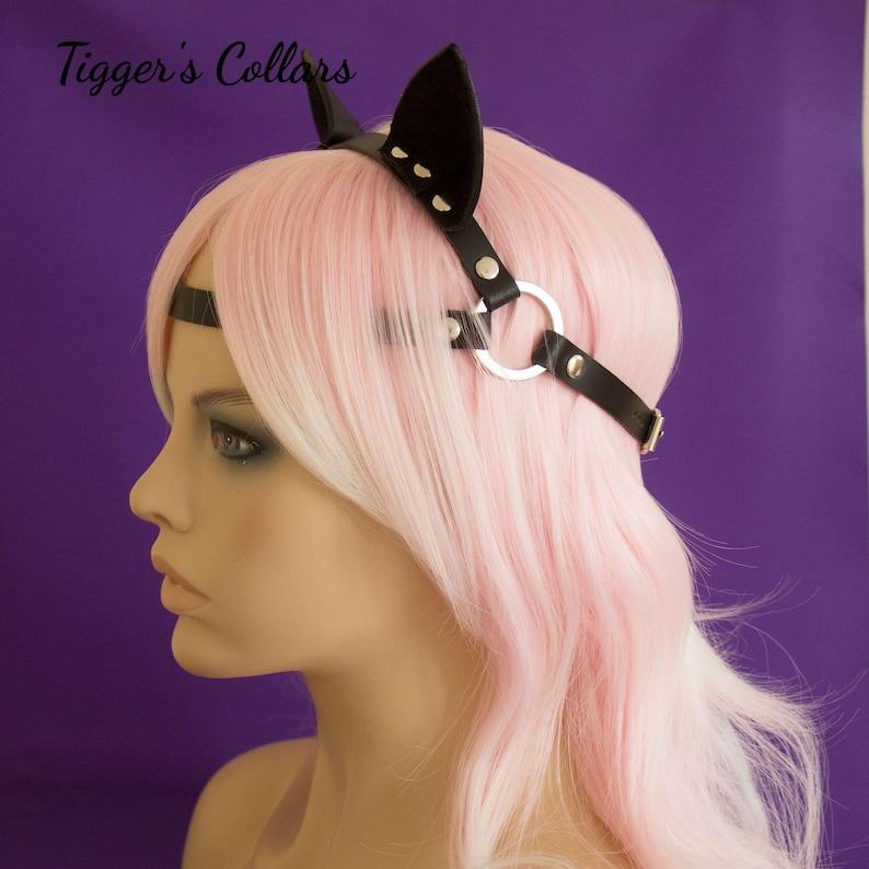Kitten Play head harness with mouldable Kitten Ears BDSM kitten play fetish petplay